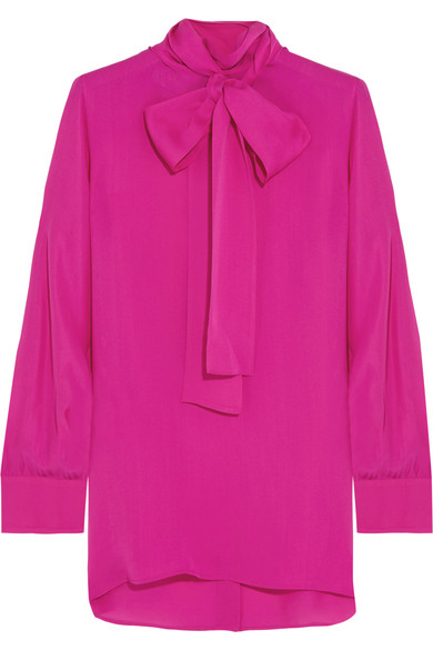ae08c4ee83bba Gucci. Pussy-bow silk crepe de chine shirt