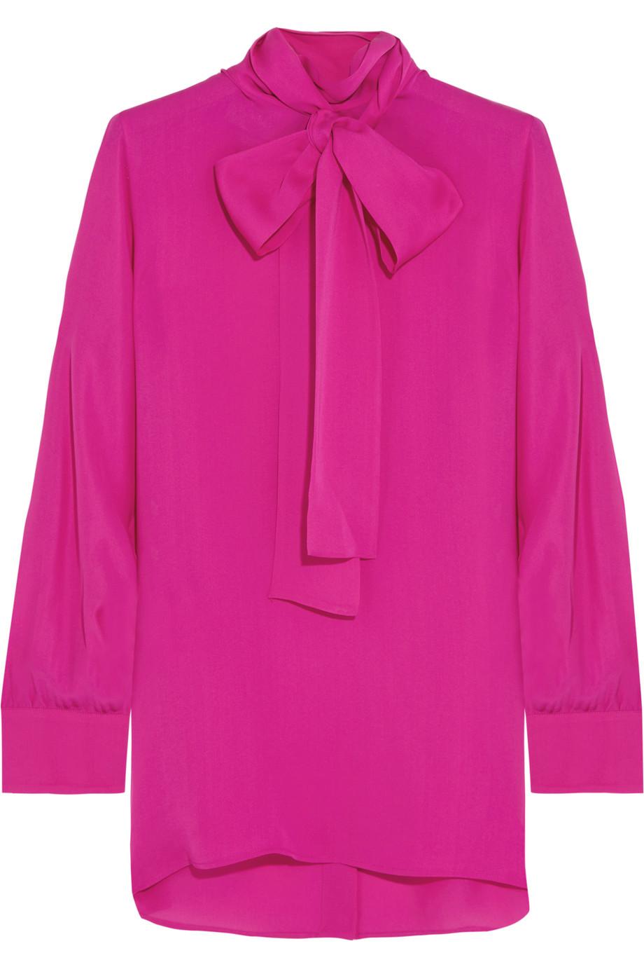 Gucci Pussy-Bow Silk Crepe De Chine Shirt, Fuchsia, Women's, Size: 42
