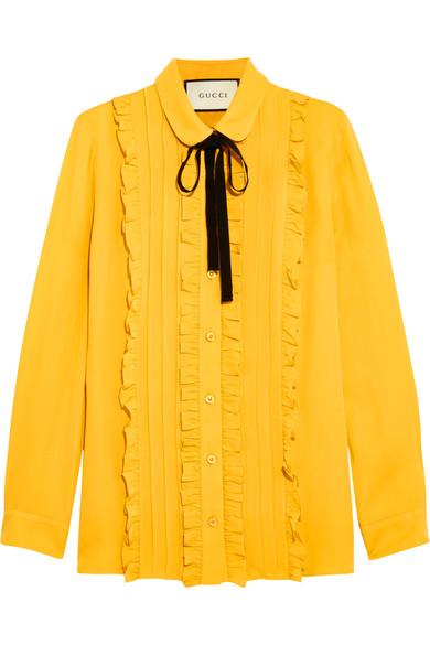 Gucci - Ruffled Silk Shirt - Mustard