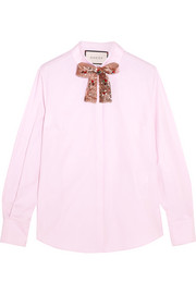Gucci Embellished cotton-poplin shirt