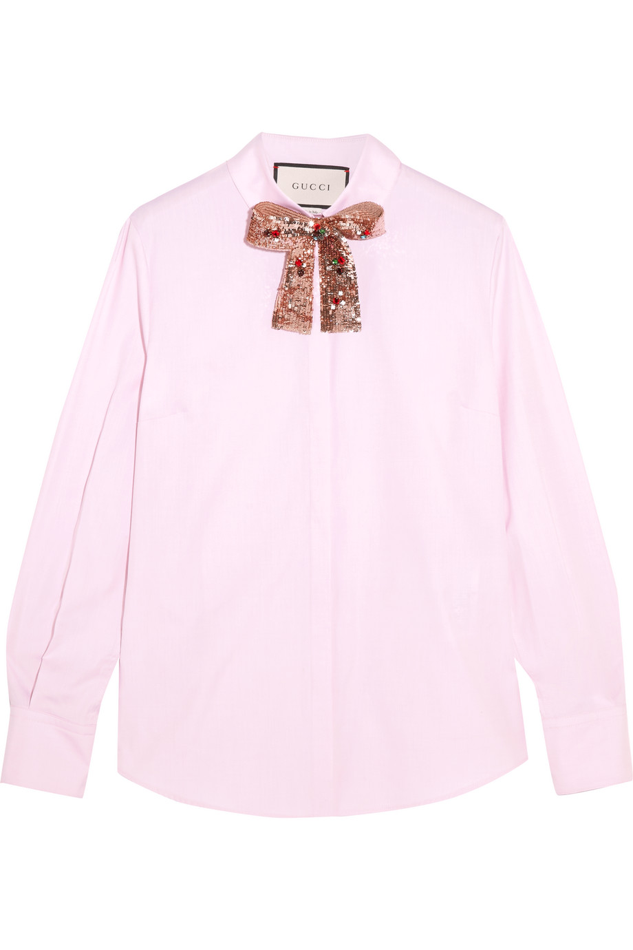 Gucci Embellished Cotton-Poplin Shirt, Pink, Women's, Size: 46