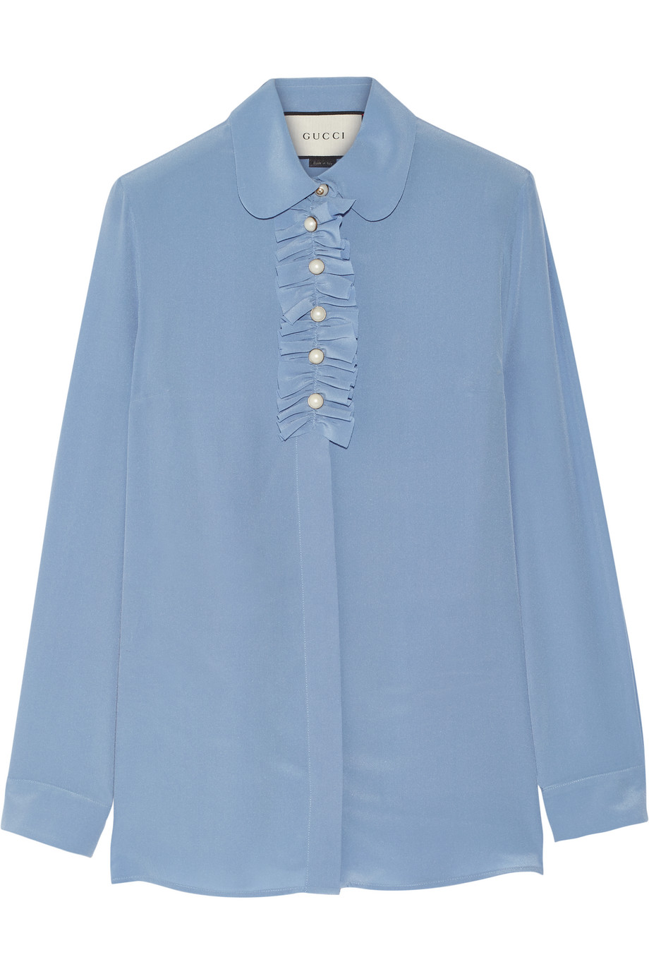 Gucci Faux Pearl-Embellished Ruffle-Trimed Silk Crepe De Chine Blouse, Sky Blue, Women's, Size: 38
