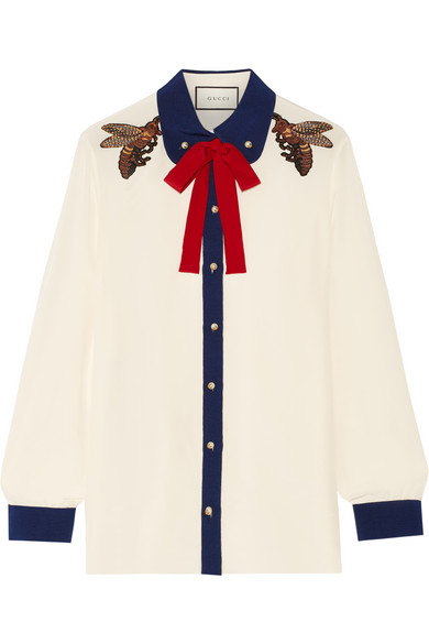 Gucci - Pussy-bow Embellished Silk Crepe De Chine Shirt - Cream