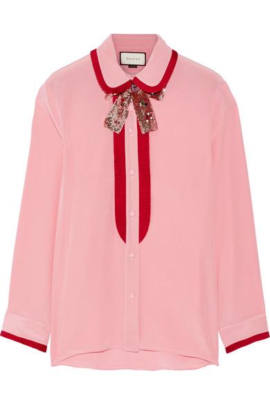 Gucci - Grosgrain-trimmed Silk Crepe De Chine Blouse - Pink