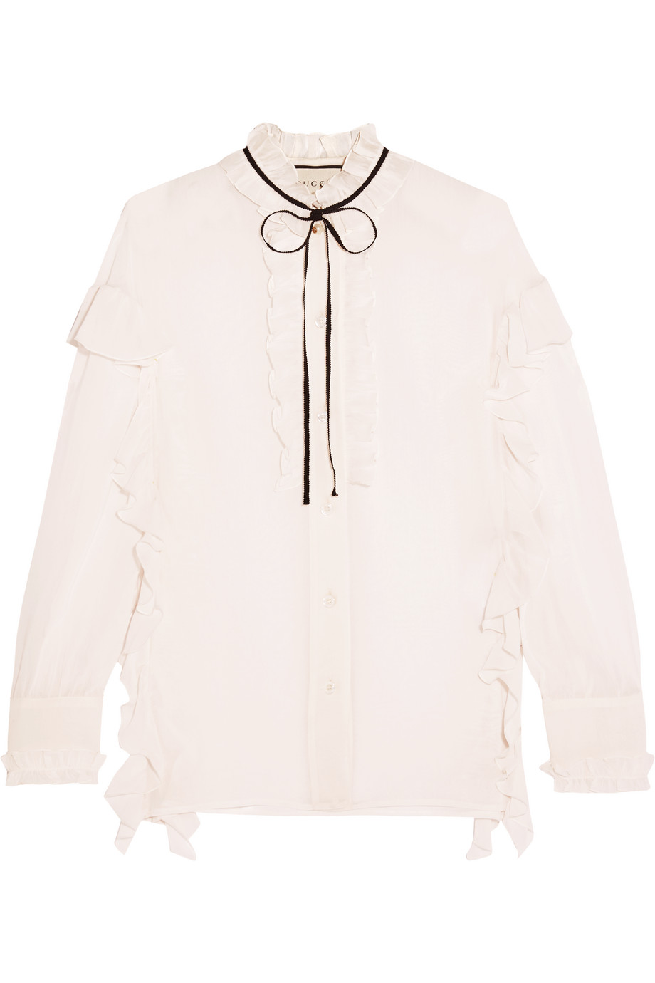 Gucci Ruffled Cotton and Silk-Blend Georgette Shirt, Size: 44