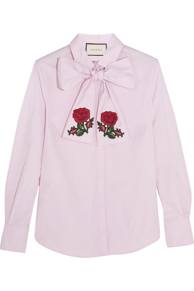 Gucci - Embroidered Pussy-bow Cotton Blouse - Pink