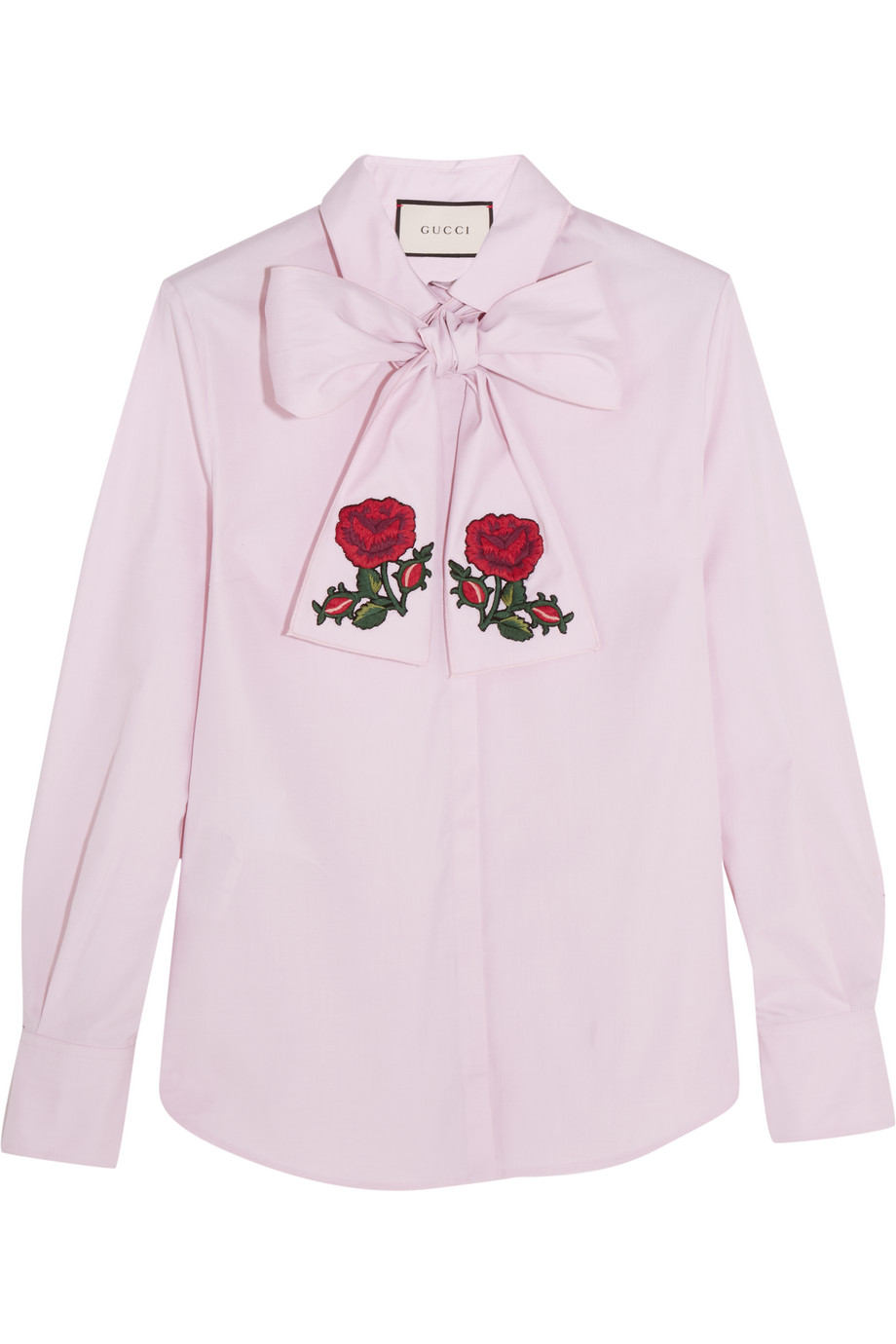 Gucci Embroidered Pussy-Bow Cotton Blouse, Pink, Women's, Size: 36
