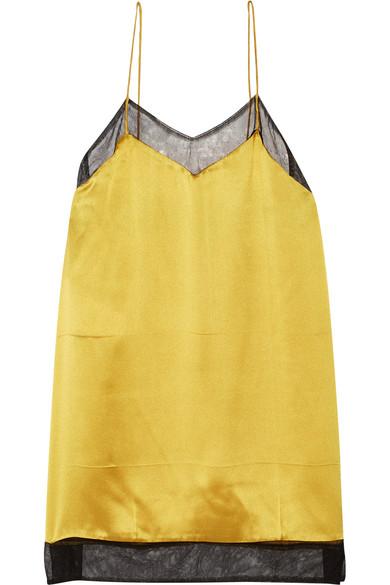 Gucci - Mesh-trimmed Silk-satin Camisole - Gold