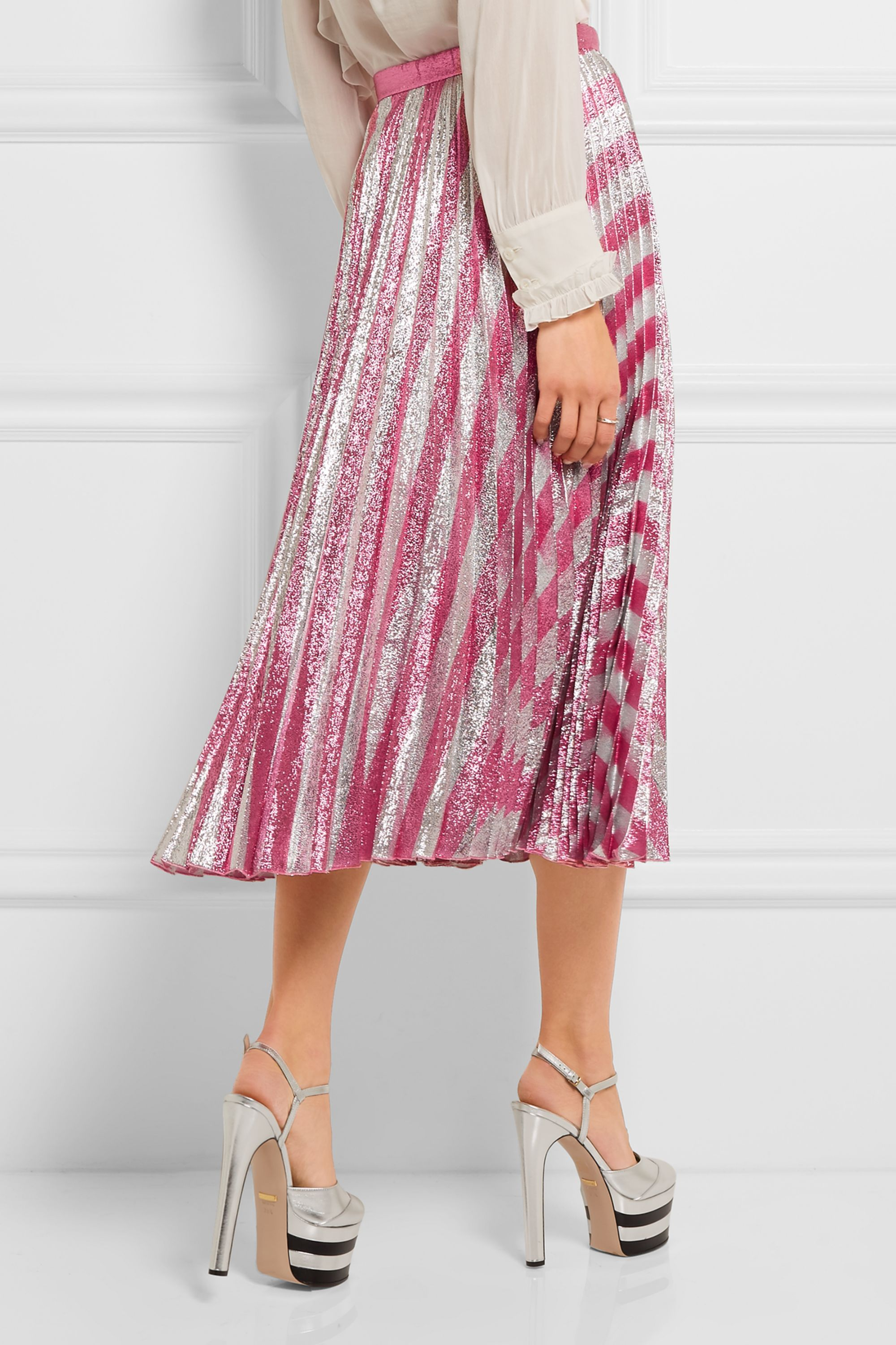 Gucci Pleated metallic striped stretch-silk midi skirt
