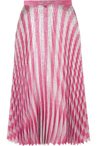 Gucci - Pleated Metallic Striped Stretch-silk Midi Skirt - Blush