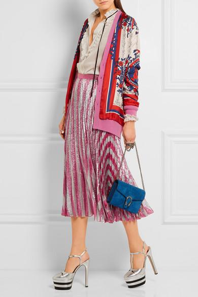 Gucci | Pleated metallic striped stretch-silk midi skirt | NET-A ...