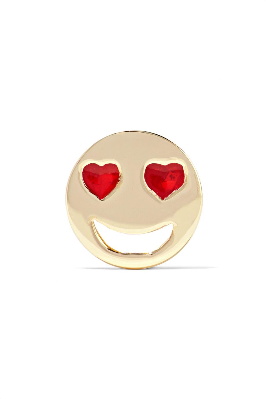 Alison Lou Lovestruck 14-Karat Gold and Enamel Earring, Women's