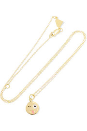 Small Crazy Face 14-karat gold enamel necklace