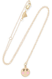 Small Bashful 14-karat gold enamel necklace