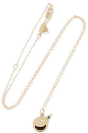 Small Party Animal 14-karat gold enamel necklace