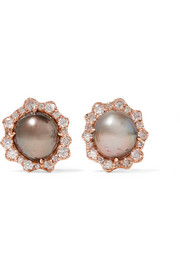 Kimberly McDonald 18-karat rose-gold, pearl and diamond earrings