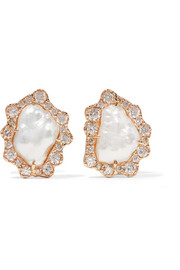 Kimberly McDonald 18-karat rose gold, pearl and diamond earrings