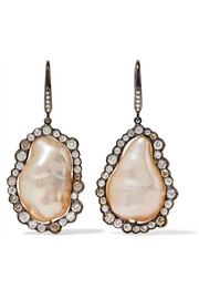 Kimberly McDonald 18-karat blackened white gold, pearl and diamond earrings