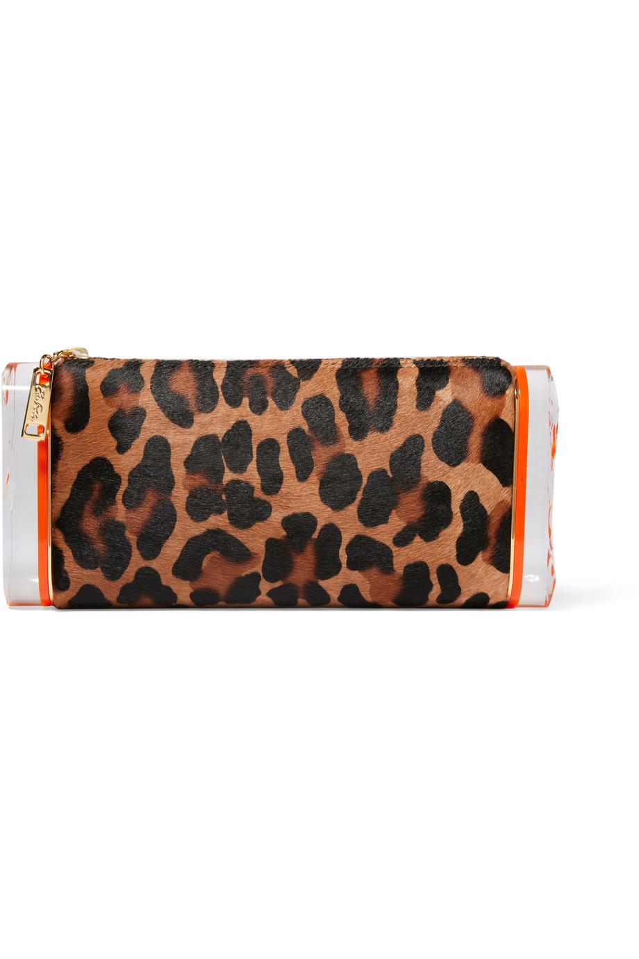 Edie Parker Lara Leopard-Print Calf Hair Acrylic Box Clutch, Leopard Print, Women's