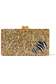 Jean Zebra Hearts glittered acrylic box clutch