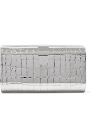 Rebekah embossed metal clutch