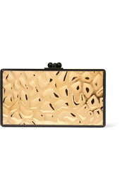 Jean embossed metal and glittered acrylic box clutch