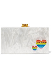 Edie Parker Jean Rainbow Hearts glittered acrylic box clutch