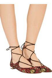 Christy embroidered suede point-toe flats