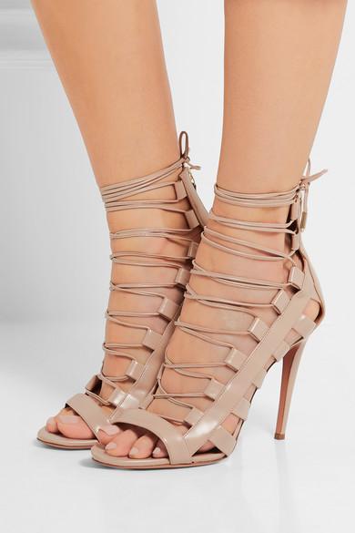 Aquazzura Lace-Up Leather Sandals outlet sale ZIoI4u