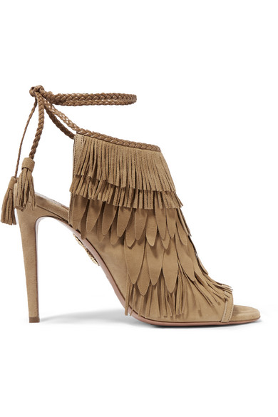 WOMAN FRINGED SUEDE SANDALS TAN