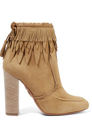 Tiger Lily leather-trimmed fringed suede ankle boots