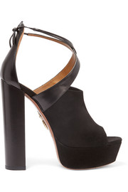 Kaya leather and suede platform sandals