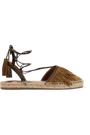 Pocahontas leather-trimmed suede espadrilles