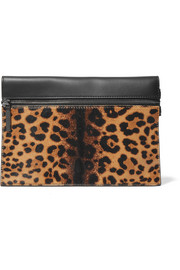 Small calf hair and leather clutch