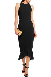 Chiffon-trimmed crepe dress