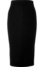 Silk and wool-blend crepe pencil skirt