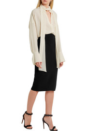 Victoria Beckham Silk and wool-blend crepe pencil skirt