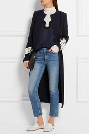 Victoria Beckham Belted appliquéd wool and cotton-blend coat