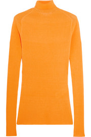 Victoria Beckham Ribbed silk and cotton-blend turtleneck sweater