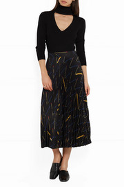 Victoria Beckham Pleated printed crepe de chine midi skirt