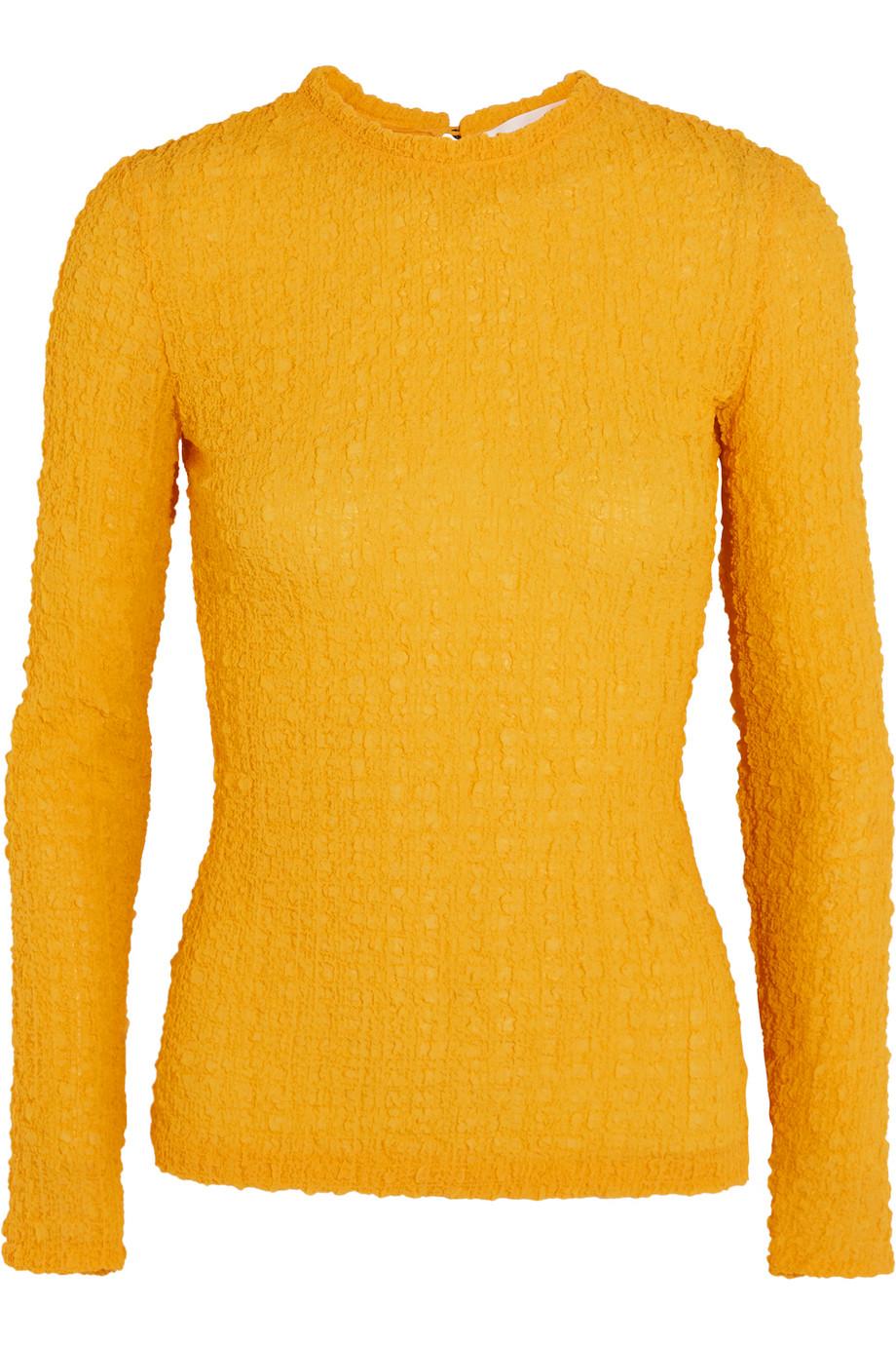 Victoria Beckham Silk-Seersucker Top, Yellow, Women's, Size: 12