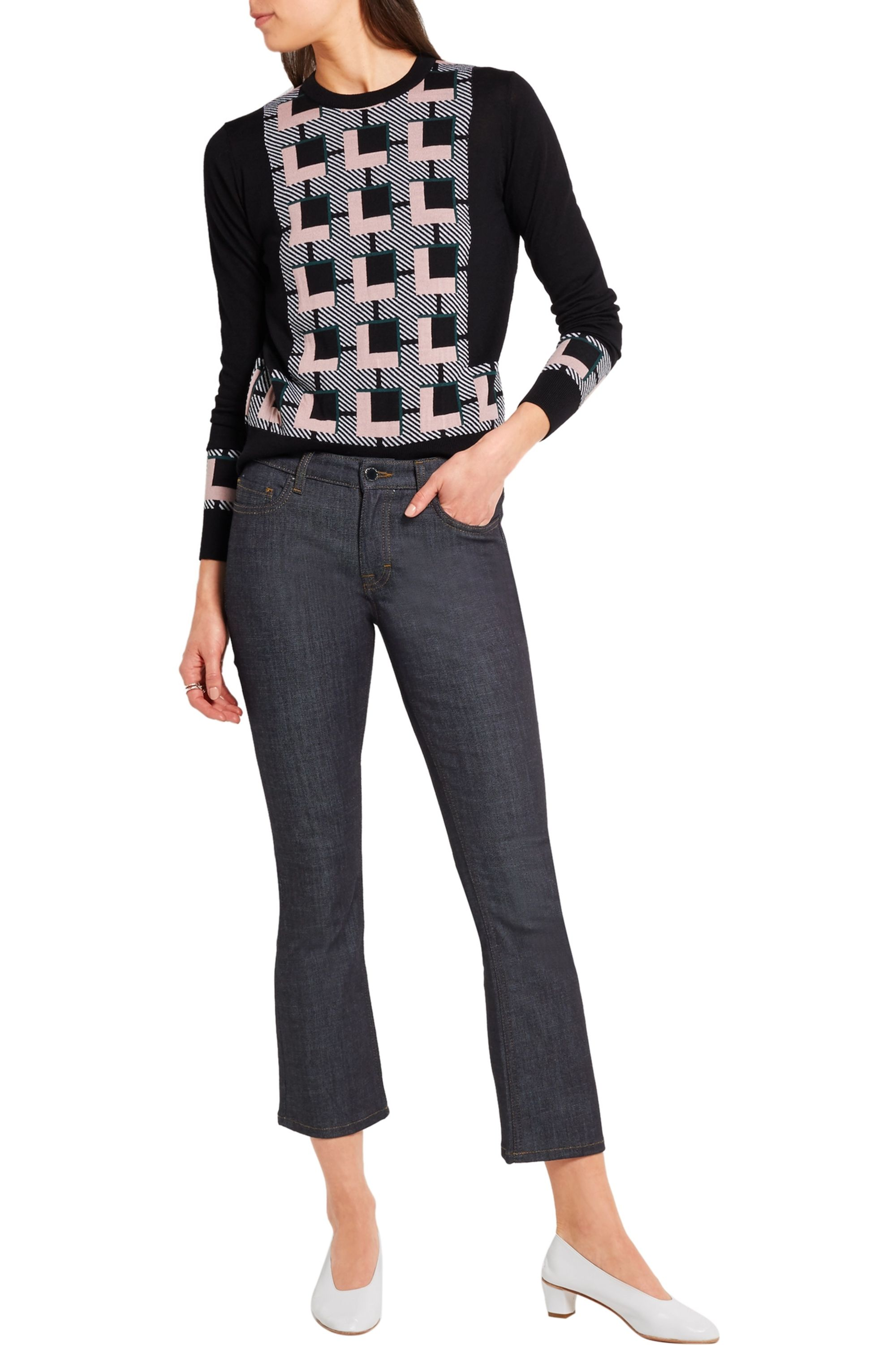 Victoria, Victoria Beckham Cropped mid-rise bootcut jeans