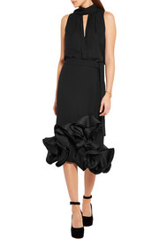 Ruffled duchesse-satin and crepe skirt