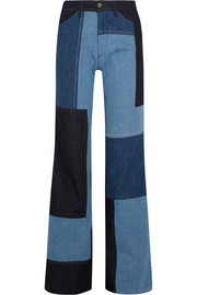Patchwork high-rise wide-leg jeans