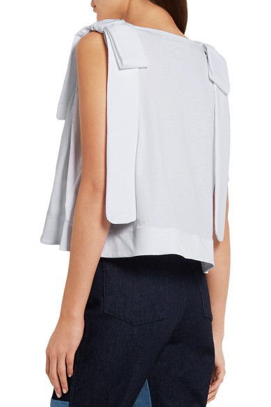 Victoria, Victoria Beckham. Bow-embellished cotton-jersey top. HK$808.  Play. Zoom In