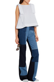 Victoria, Victoria Beckham Bow-embellished cotton-jersey top