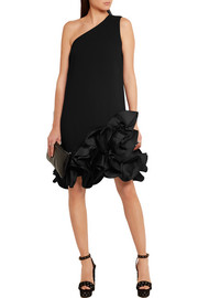 Victoria, Victoria Beckham Ruffled crepe one-shoulder mini dress