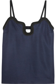Crepe and silk satin-trimmed twill camisole