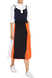Victoria, Victoria Beckham Color-block silk crepe de chine midi dress