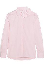 Bow-embellished cotton-poplin shirt